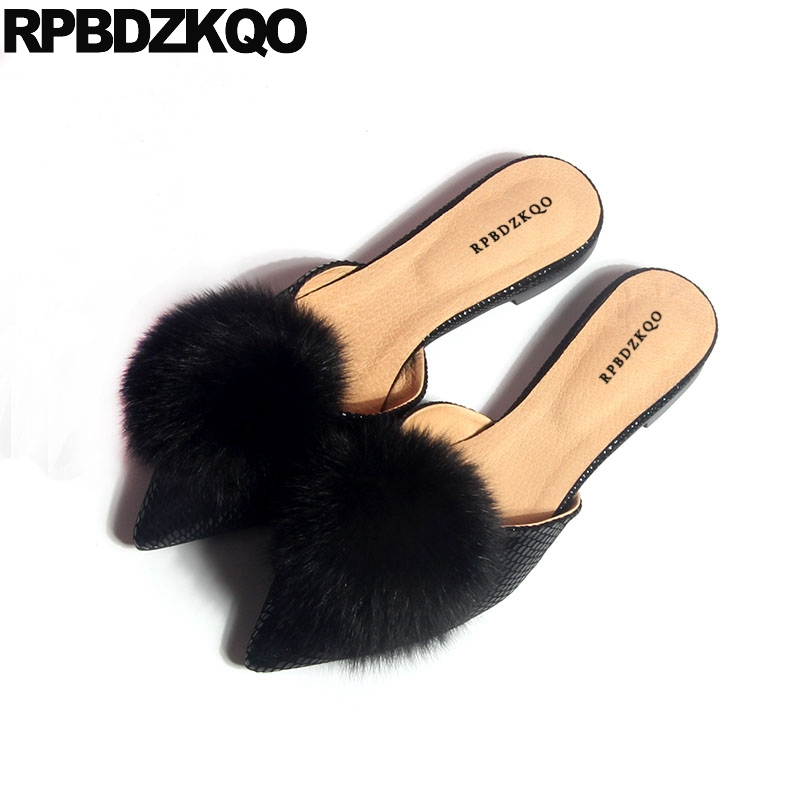 Blue Sandals Silver Pointed Toe Mules Fur Runway Designer Shoe Women Luxury 2018 Metallic Slippers Flats Genuine Leather Pom Pom santa claus