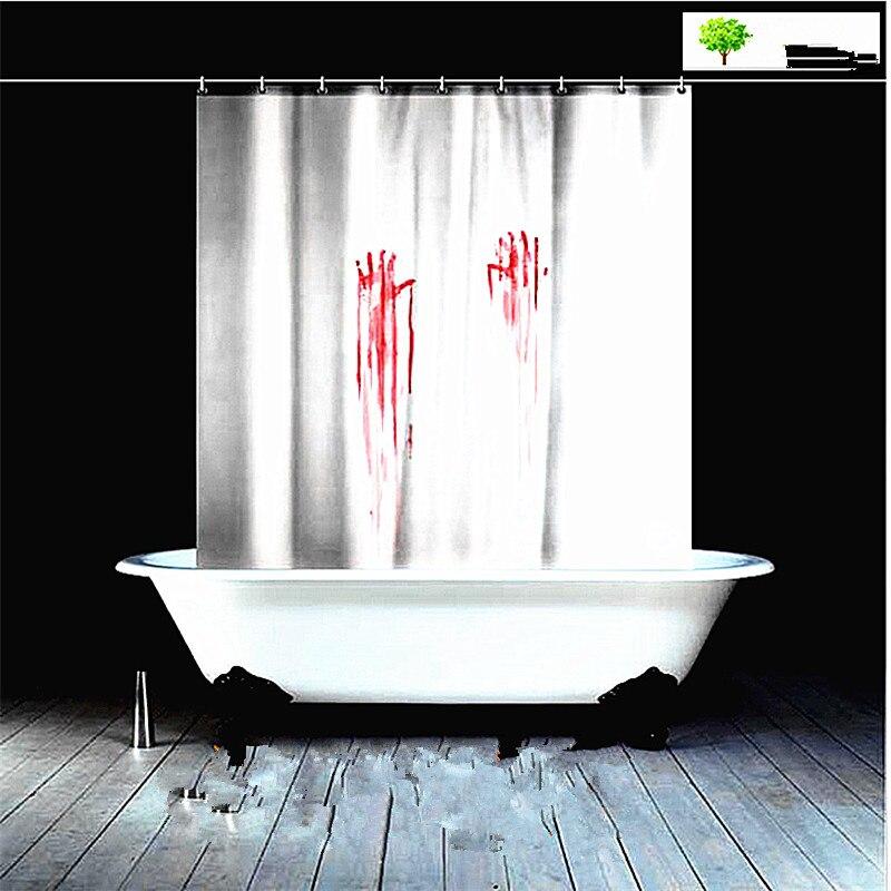 Europe et états-unis créatif rideau de douche spot sang handprint Halloween salle de bain tissu polyester canard canard rideau - 4