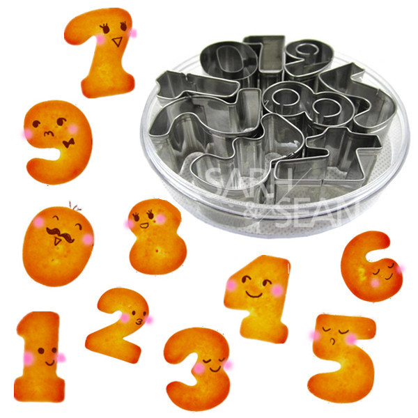 9pcs/set Metal Cookie Cutters of 0-9 Numbers Series Stainless