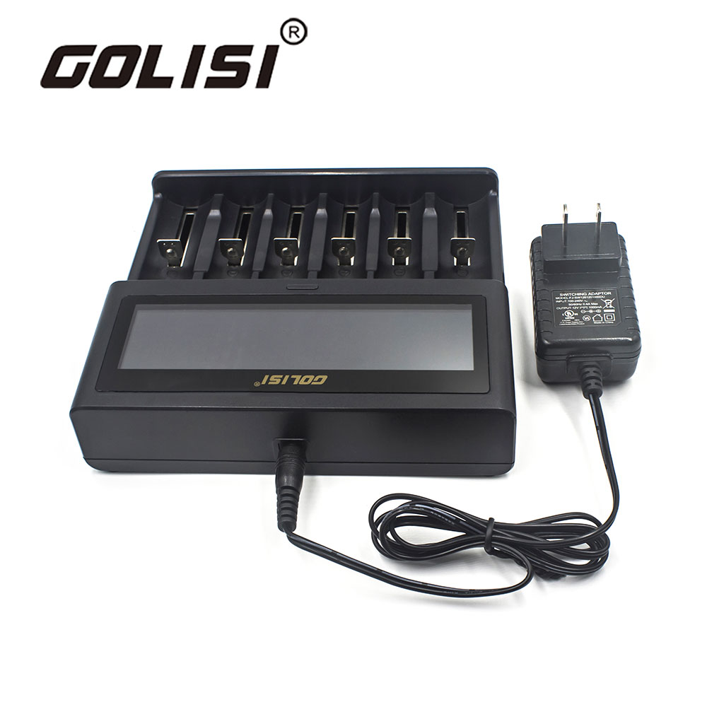 Chargeur rapide intelligent Golisi 6 emplacements 2A avec écran LCD EURO pour Batteries Li-ion 18650, 26650, 20700, 21700, AAA, AA, ni-cd, ni-md