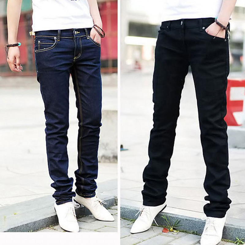 Men Casual Jeans Pencil Pants Stylish Designed Straight Slim Fit Trousers 6475 fashion europe style printed jeans men denim jeans slim black painted pencil pants long trousers tight fit casual pattern pants