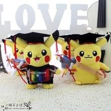 Free shipping cute 20cm&35cm Pikachu animal graduation plush toy stuffed soft school anime doll best graduation gift toy