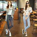 Ladies fashion simple high waist full length denim pencil pants, all-match slim elastic casual skinny jeans trousers for women