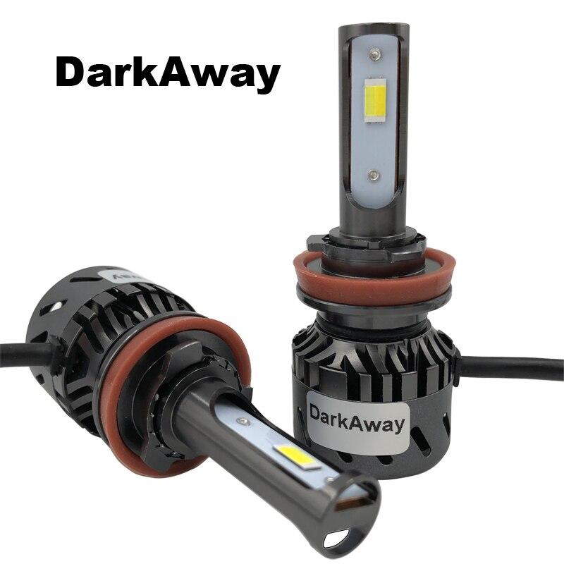 DarkAway H11 H4 H7 LED Ampoule 60 W 8000lm HB4 HB3 H1 H3 H27 Voiture phare LED Mini Auto Lampe Antibrouillard 12 V 3 Couleurs Imperméable À L'eau
