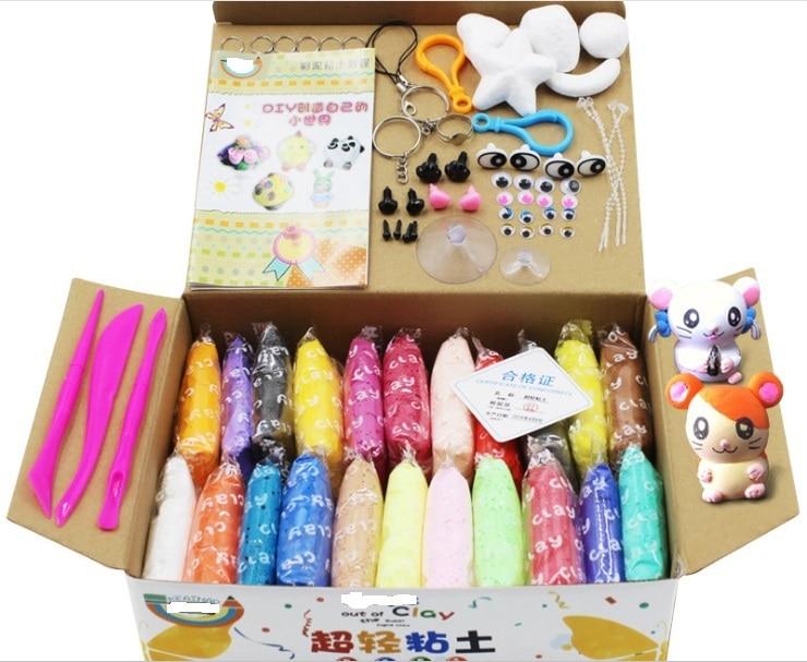 24 PC air sec argile lumière poids saut argile, 24 couleur, chaque couleur 20g Avec Des outils Supplémentaires et accessoires comme cadeaux