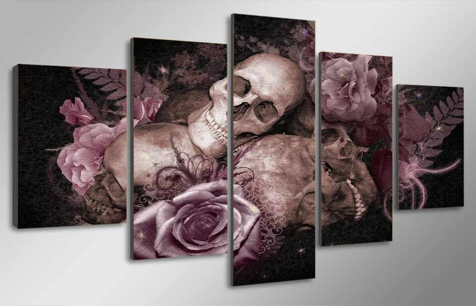 Fashion Framed Wall Decorations 5pcs / Set Abstract skull poster Canvas Print Artist Canvas Decoration/11Y-ZT-78