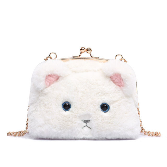 New Korean Fashion Cute Hello Kitty Cat Head Plush Bag Street Leisure Bags  Soft Plush Cats doll Lovely card bags Girls Gifts 573d638b10646