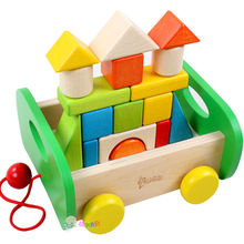 Childrens DIY wooden Color solid wood blocks 1-3-6 - year old young kids drag car toys