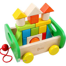 Children's DIY wooden Color solid wood blocks 1-3-6 - year - old young kids drag car toys(China)