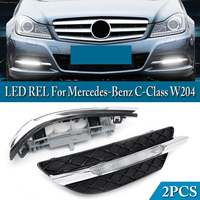 2PCS LED DRL White Daytime Running Light White Turn Signal Light Fog Lamps For Mercedes Benz C Class W204 2011 2012 2013