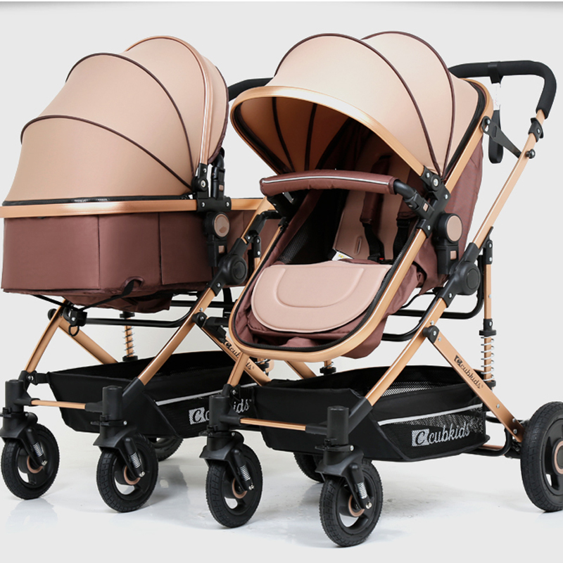 2018 Aluminium alloy frame rubber wheel twins baby stroller can sit lie high landscape folding shock absorber baby stroller 100pcs lot hgtg20n60a4d 20n60a4d in stock