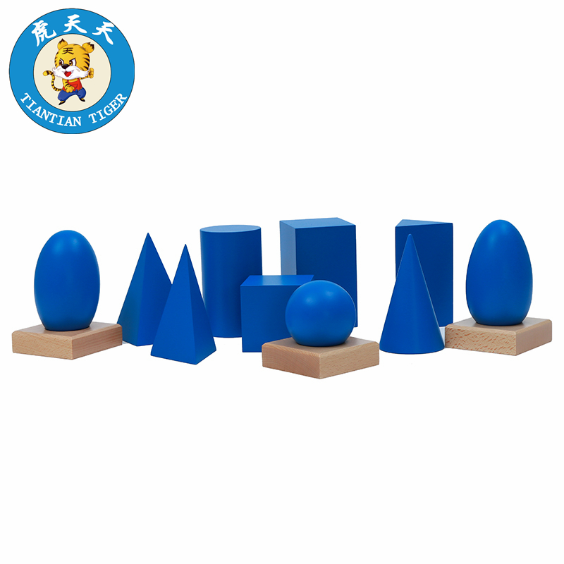 Montessori Teaching Aids Wooden Toys Kindergarten Children's Puzzle Sensory Series Geometric Solids With Stand