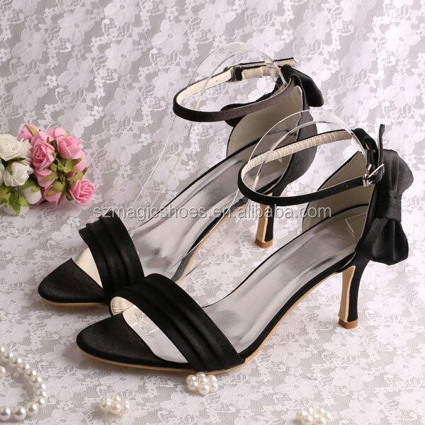 ФОТО New Simple Design Black Satin Ankle Wrap Wedding Sandals for Women 8CM Heel