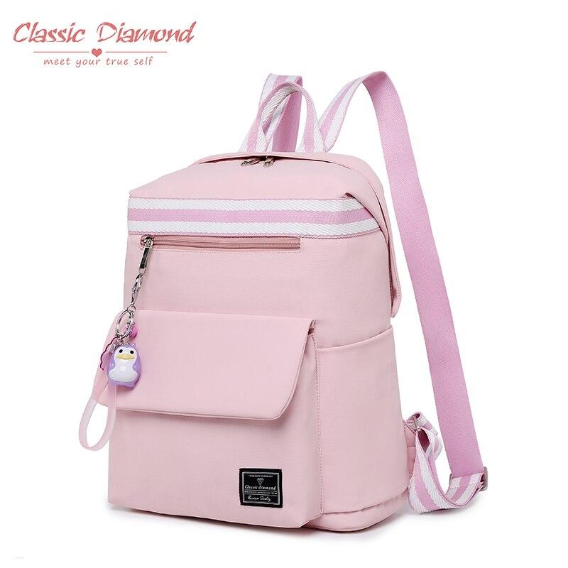 Classic Diamond New School Bags For Teenage Girls Pink Backpack Korean Harajuku Ulzzang Women Large Waterproof Travel Bagpack