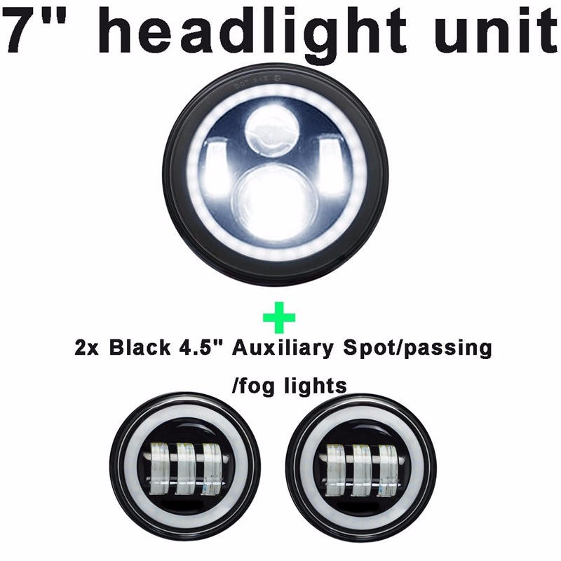 Image 5 - Motorcycle 7 inch Moto LED Headlight for Harley bike with 4  1/24.5 LED Passing Lamps Fog Lights