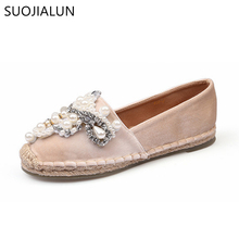 SUOJIALUN Women Shoes Flat Round Toe Slip On Women's Shoes Loafers Casual Flat Shoes Velvet Flats Plus Size 35-41 2017 new women flower flats slip on cotton fabric casual shoes comfortable round toe student flat shoes woman plus size 35 40
