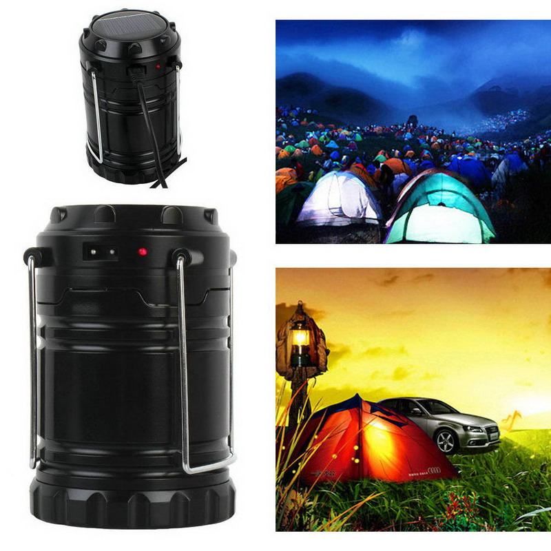 1pcs Hot Selling Tensile Solar LED Lantern Outdoor Super Bright Rechargeable Camping Tent Light T2