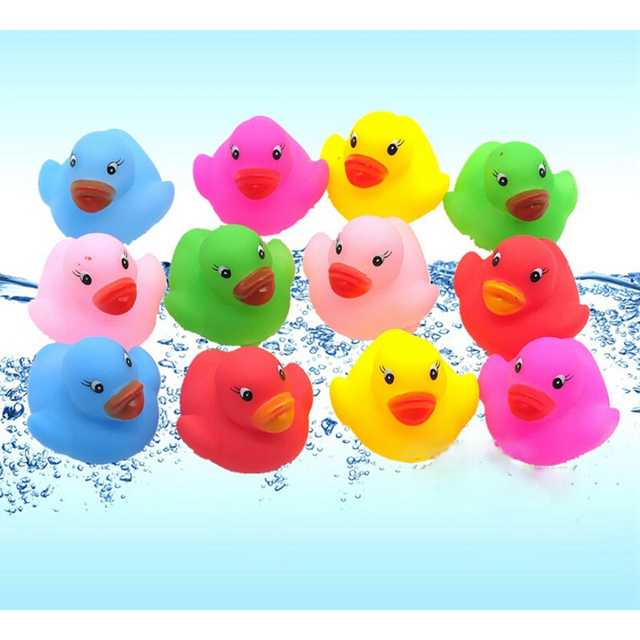 12Pcs Animals Swimming Water Toys Colorful Soft Floating Rubber Duck Squeeze Sound Squeaky Bathing Toy For Baby Bath Toys