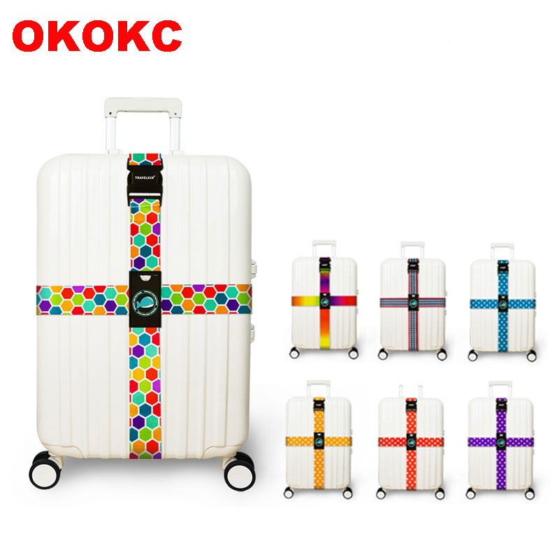 OKOKC Luggage Tied Strap Suitcase Cross Luggage Belt 230cm Creative Adjustable Suitcase Cross Luggage Straps Travel Thick
