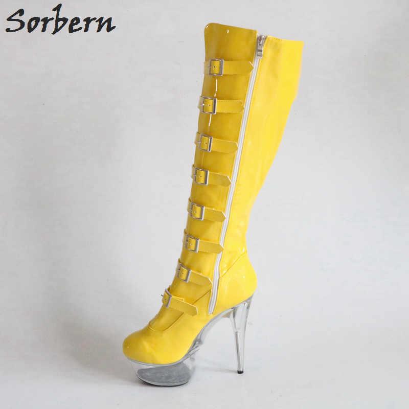 Sorbern parlak sarı kadın çizmeler diz yüksek Perspex topuklar bayan botları özel renkler moda streç çizmeler özel bacak buzağı boyutu