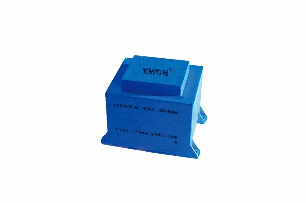 Инкапсулированный монтажный трансформатор PCB, PE6627K-M 40VA 110В/6В
