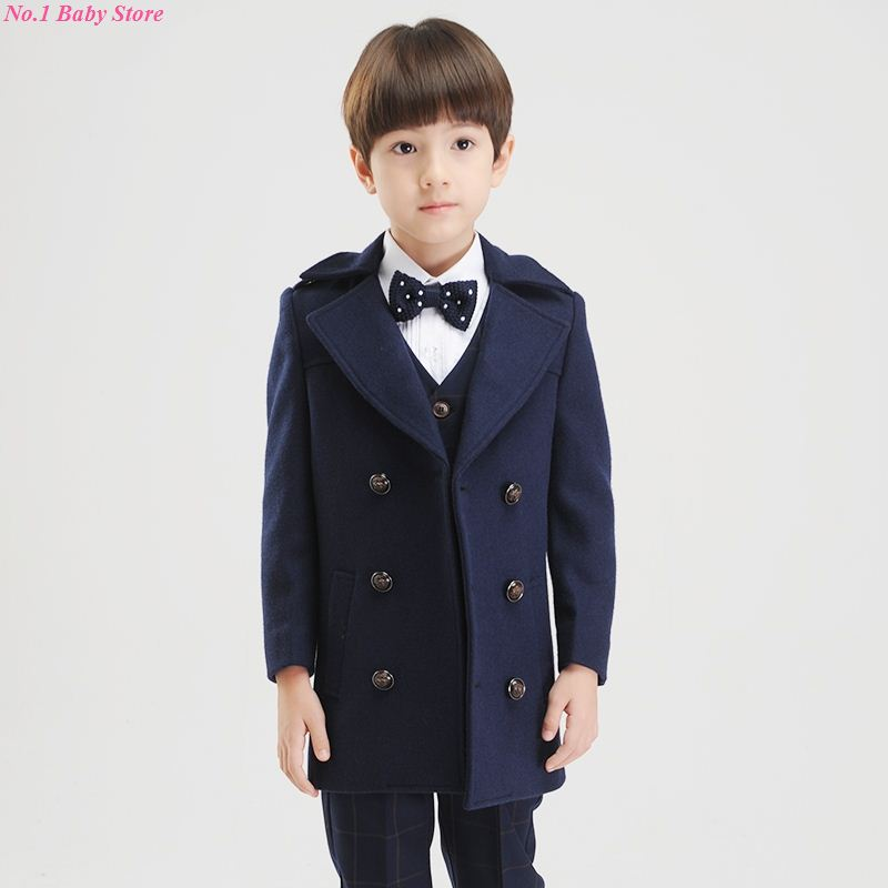 Top quality baby boy child woolen outerwear child thickening wool coat child suit collar overcoat free shipping boy jacket стоимость