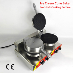 Nonstick Double Heads Ice Cream Cone Maker Commercial Crispy Waffle Machine 220V 110V with thermostat and timer