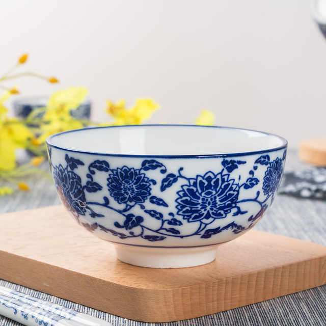 4pcs Lot Chinese Style Ceramic Bowl Straight Mouth Rice Noodles Soup Bowls Blue And White