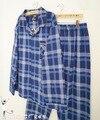 Весна и осень мужской классический 100% с длинными рукавами двусторонний флис синий белый плед гостиная пижамы