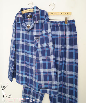 Spring and autumn male classic 100% long-sleeve cotton double faced fleece blue white plaid lounge sleepwear