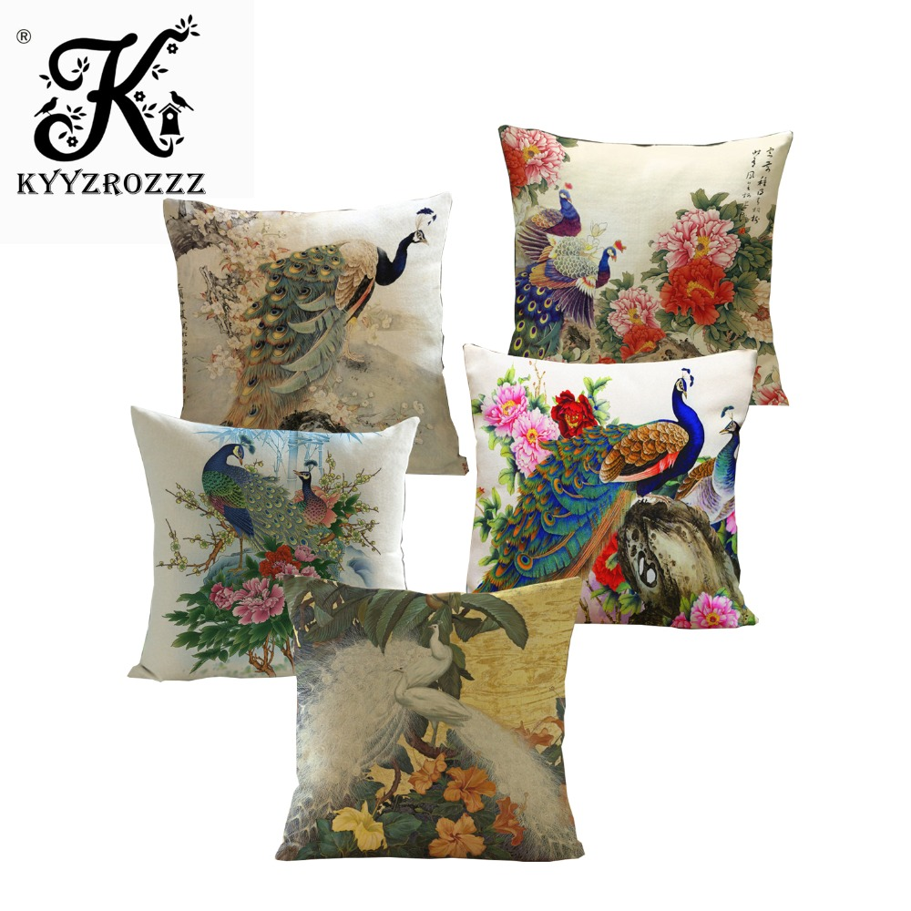 New Arrival Unique Cushion Covers Flowers Dogs Patterns Print Pillow Covers Cotton Linen Blend Pillowcases Sofa Chair Car Decor Wide Varieties Home & Garden