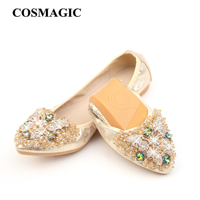 aa7e90433caeb8 COSMAGIC New Women Flat 2018 Butterfly Crystal Ballet Flats Folding Shoes  Casual Rhinestone Soft Dancing Egg Rolls Shoes Loafers
