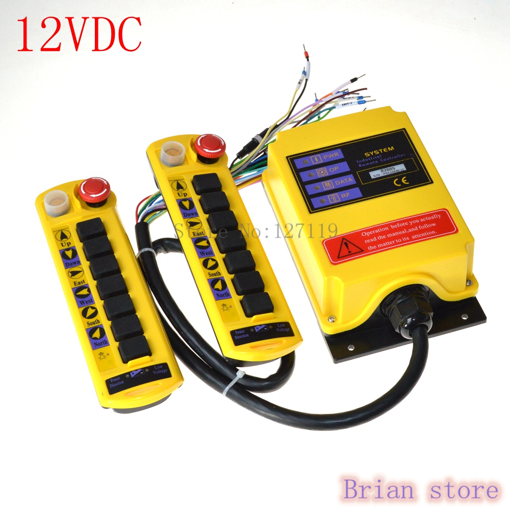 12VDC 1 Speed 2 Transmitter 7 Channel Control Hoist Crane Radio Remote Control System Controller 3 motion 2 speed 1 transmitter hoist crane truck radio remote control push button switch system controller
