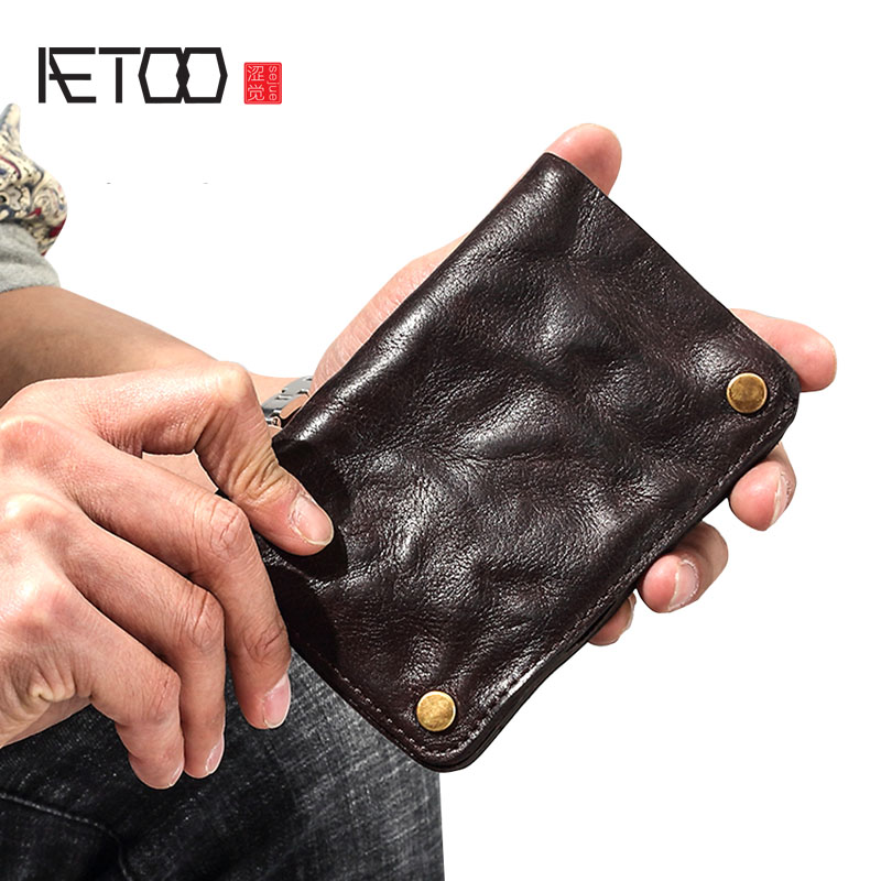 AETOO Retro wallet men s short leather old original young men s leather clips vertical button