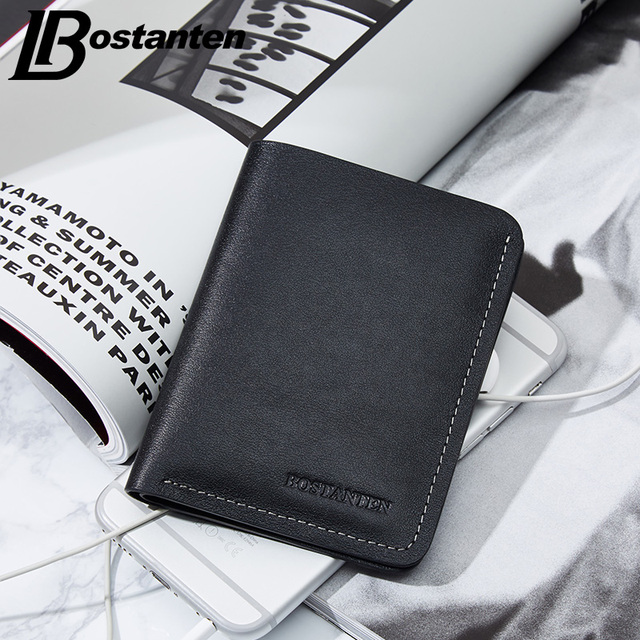 BOSTANTEN 100% Genuine Leather Men Wallets Short Fashion Male Purse 2017 New Designer Small Wallet Luxury Brand Thin Wallets