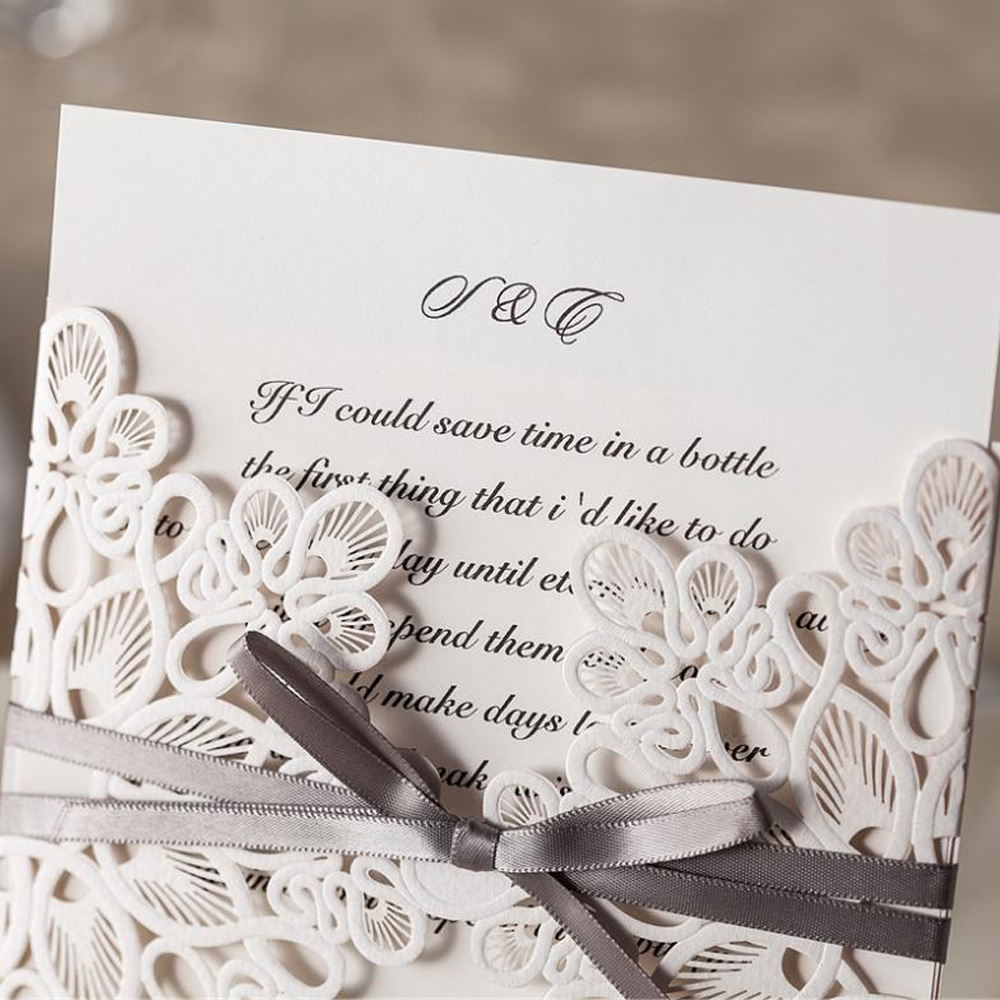 25pcs White Wedding Invitations Card Laser Cut Wedding Invitations ...