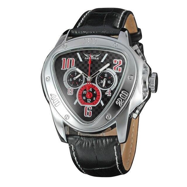 7166992d5 Jaragar ساعة رجالي الرياضة سباق تصميم مثلث ساعة جلد طبيعي حزام للرجال ساعات  الأعلى العلامة التجارية