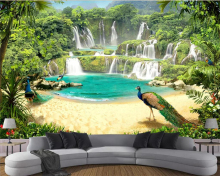 Beibehang Custom wallpaper mural waterfall lake landscape 3d TV background wall living room bedroom