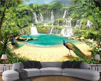 Beibehang Custom wallpaper mural waterfall lake landscape 3d TV background wall living room bedroom background wall 3d wallpaper цена 2017
