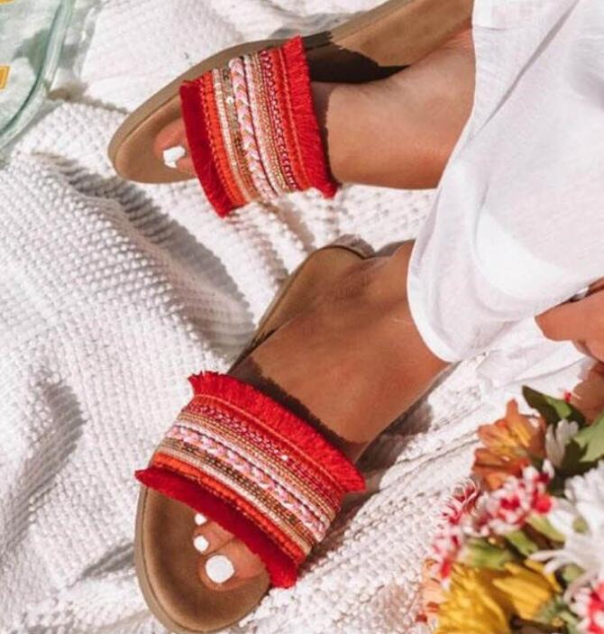 2019 г., женские летние шлепанцы новые римские сандалии в стиле ретро повседневная обувь на плоской подошве женские шлёпанцы женская обувь, большие размеры, Sandalias mujer