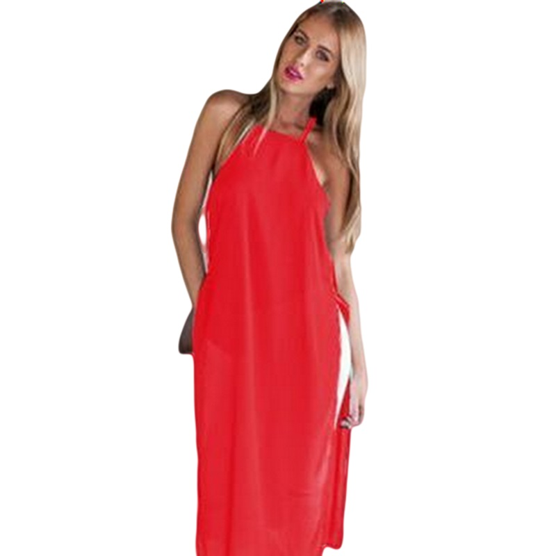 2018 New Spring&summer Fashion Sexy Spaghetti Strap Sling Dress Split Solid Color Beach Holiday Red&white Dress S/m/l/xl