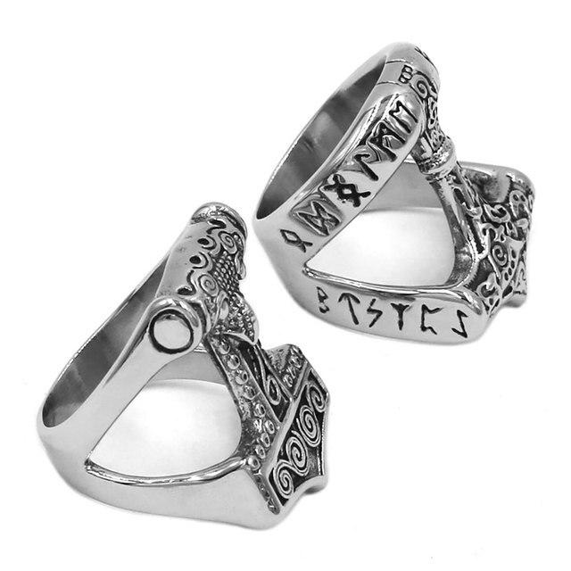 Norse Viking mit Thor młot pierścień ze stali nierdzewnej biżuteria Celtic Knot pierścień zwierząt Amulet Biker mężczyźni pierścień hurtownie SWR0820A