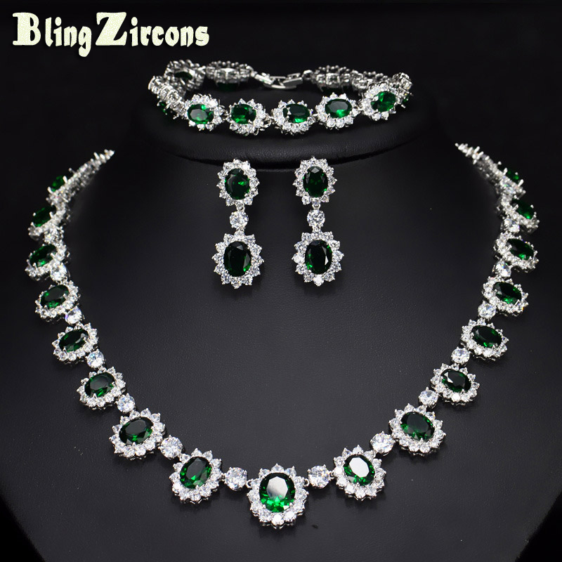 BeaQueen Evening Party Wedding Jewelry Big Oval Green Cubic Zircon Stone Flower Earrings Bracelet Necklace 3
