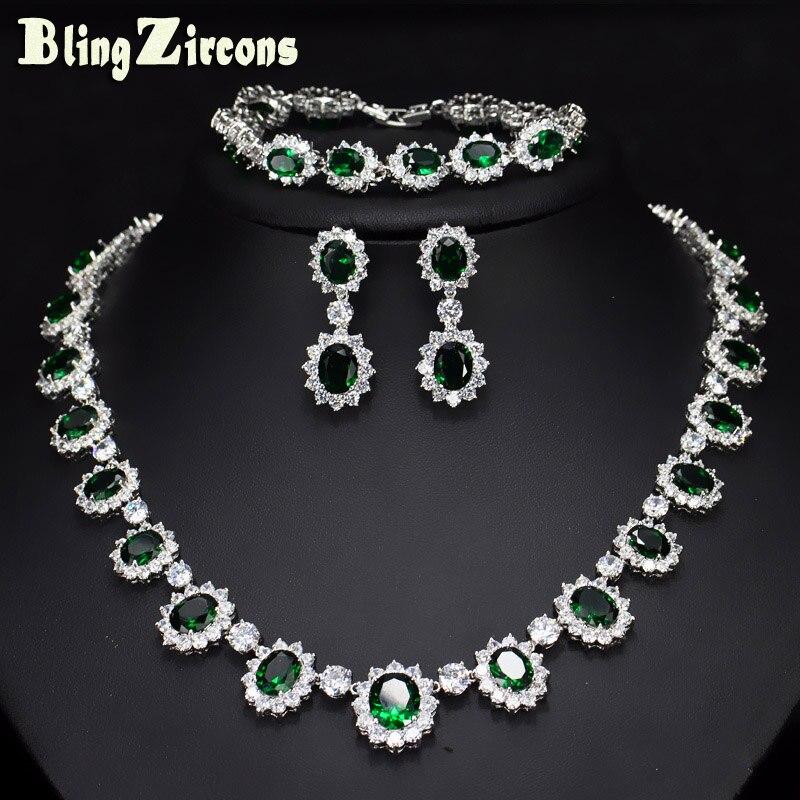 цена на BlingZircons Evening Party Wedding Jewelry Big Oval Green Cubic Zircon Stone Flower Earrings Bracelet Necklace 3 Pcs Sets JS057