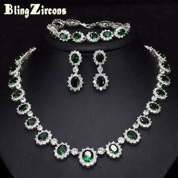39ad26279c8e BlingZircons noche fiesta boda joyería Oval grande verde Cubic Zircon Flor  de piedra pendientes pulsera collar 3 unids conjuntos JS057