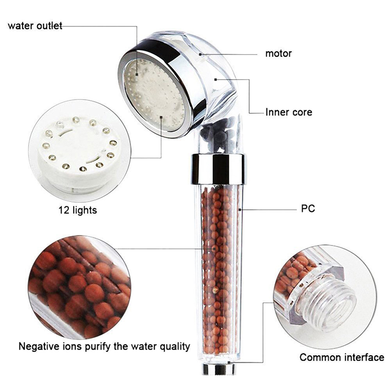 LED Shower Head Water Filter Anion Water-Saved Temperature Control & Colorful Negative Ionic Shower Filtration 7 Color Changing
