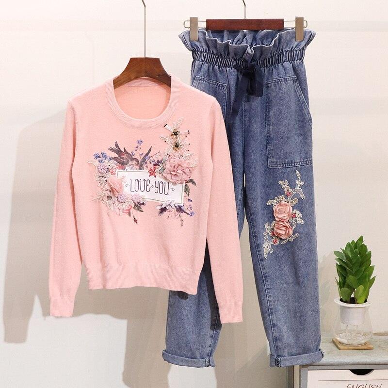 2018 Loose Jeans Suit Women Bead Long-sleeved Knit Shirt +elastic Waist Harlan Trousers Two-piece Set Woman Denim Pants Sets