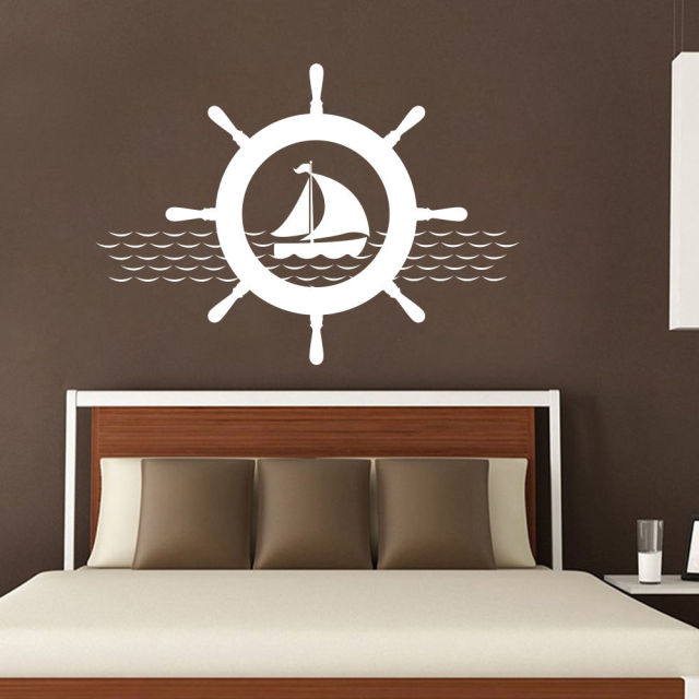New Arrivals Nautical Wall Decals Ship Wheel Decal Removable Sticky Vinyl Nursery Home Decor