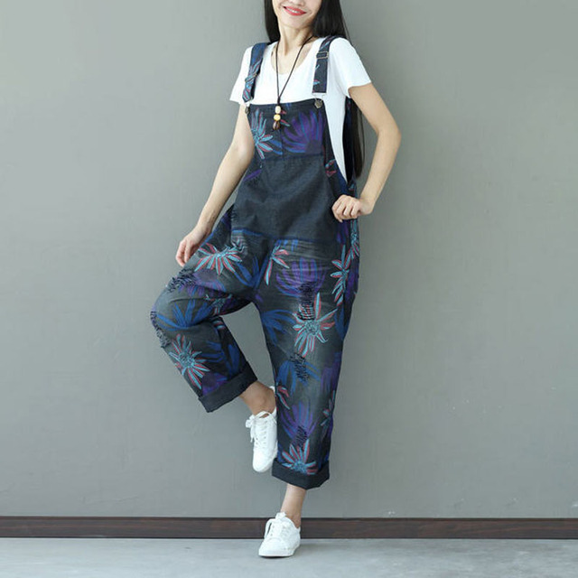 a08f40df43 New 2017 Summer Women Casual Plus Size Loose Holes Pockets Denim Rompers  Straps Bib Overalls Floral Printed Jumpsuit W1024
