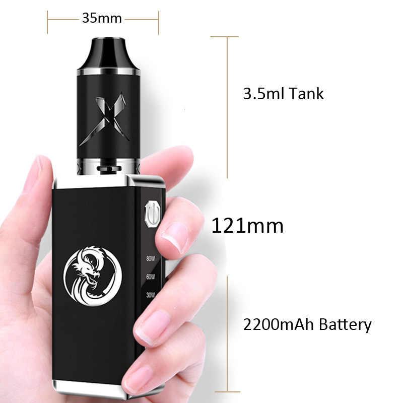 新電子タバコ 80 ワットキット蒸気を吸う電子タバコ液体ボックス Mod 2200 バッテリー 3.5 のためのフィットミリリットルタンク気化器水ギセル vaper